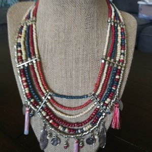 Tribal Necklace. Beautiful Beading and Silver